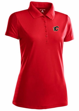 Calgary Flames Womens Pique Xtra Lite Polo Shirt (Color: Red) - Small