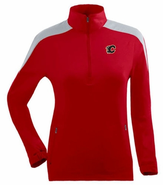 Calgary Flames Womens Succeed 1/4 Zip Performance Pullover (Team Color: Red)