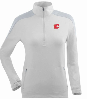 Calgary Flames Womens Succeed 1/4 Zip Performance Pullover (Color: White)