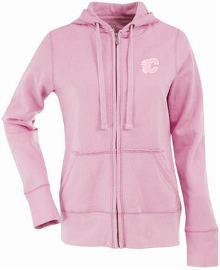 Calgary Flames Womens Zip Front Hoody Sweatshirt (Color: Pink)