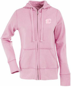 Calgary Flames Womens Zip Front Hoody Sweatshirt (Color: Pink) - Small