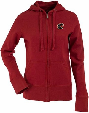 Calgary Flames Womens Zip Front Hoody Sweatshirt (Team Color: Red)