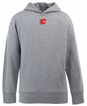 Calgary Flames YOUTH Boys Signature Hooded Sweatshirt (Color: Gray)