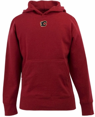 Calgary Flames YOUTH Boys Signature Hooded Sweatshirt (Team Color: Red)