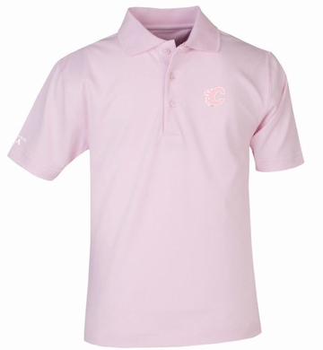 Calgary Flames YOUTH Unisex Pique Polo Shirt (Color: Pink)