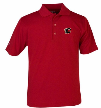 Calgary Flames YOUTH Unisex Pique Polo Shirt (Team Color: Red)