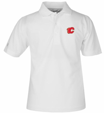 Calgary Flames YOUTH Unisex Pique Polo Shirt (Color: White)
