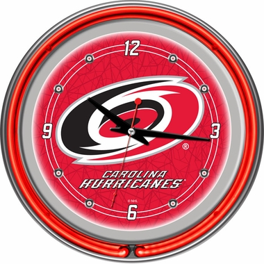 Carolina Hurricanes 14 Inch Neon Clock