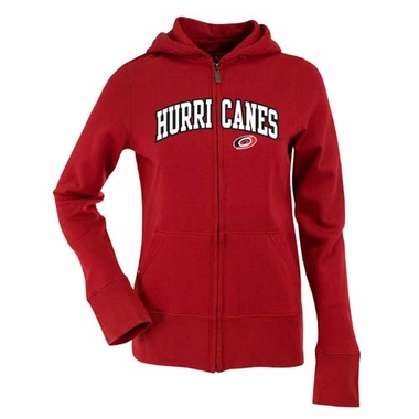 Carolina Hurricanes Applique Womens Zip Front Hoody Sweatshirt (Team Color: Red)