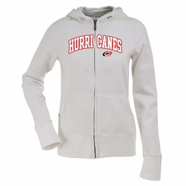Carolina Hurricanes Applique Womens Zip Front Hoody Sweatshirt (Color: White)