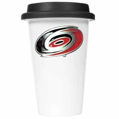 Carolina Hurricanes Ceramic Travel Cup (Black Lid)