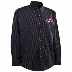 Carolina Hurricanes Mens Esteem Check Pattern Button Down Dress Shirt (Team Color: Black) - Large