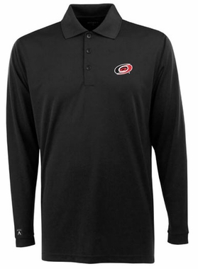Carolina Hurricanes Mens Long Sleeve Polo Shirt (Team Color: Black)