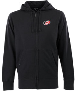 Carolina Hurricanes Mens Signature Full Zip Hooded Sweatshirt (Team Color: Black) - Medium