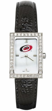 Carolina Hurricanes Women's Black Leather Strap Allure Watch