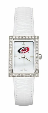 Carolina Hurricanes Women's White Leather Strap Allure Watch