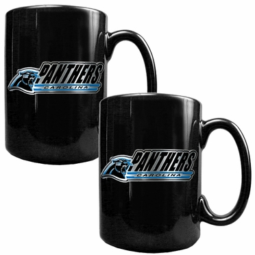 Carolina Panthers 2 Piece Coffee Mug Set (Wordmark)