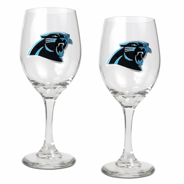 Carolina Panthers 2 Piece Wine Glass Set