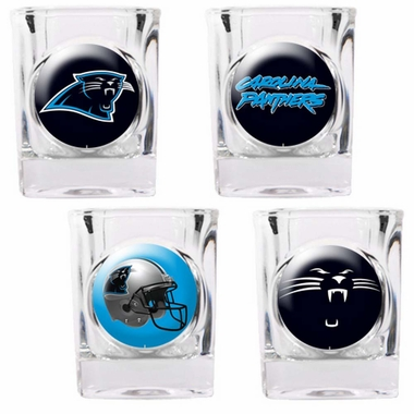 Carolina Panthers 4 Piece Assorted Shot Glass Set
