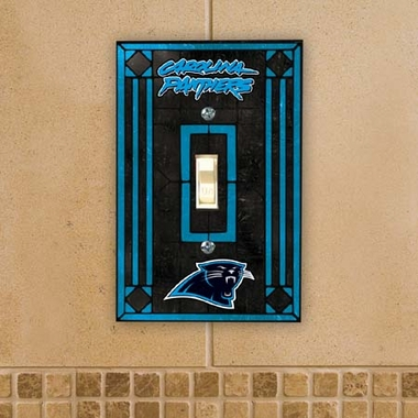 Carolina Panthers Art Glass Lightswitch Cover