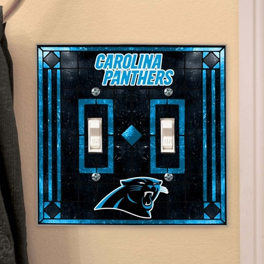 Carolina Panthers Art Glass Lightswitch Cover (Double)