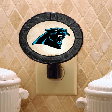 Carolina Panthers Art Glass Night Light