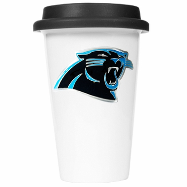 Carolina Panthers Ceramic Travel Cup (Black Lid)