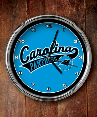 Carolina Panthers Chrome Clock