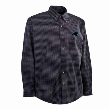 Carolina Panthers Mens Esteem Check Pattern Button Down Dress Shirt (Team Color: Black)