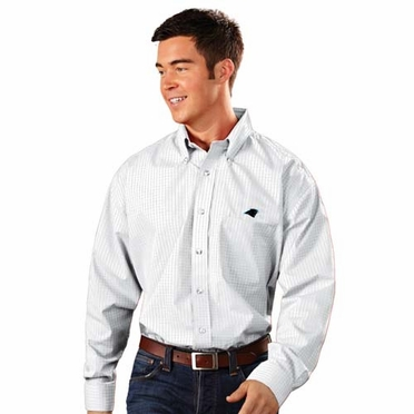 Carolina Panthers Mens Esteem Check Pattern Button Down Dress Shirt (Color: White)