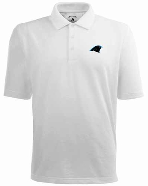 Carolina Panthers Mens Pique Xtra Lite Polo Shirt (Color: White)