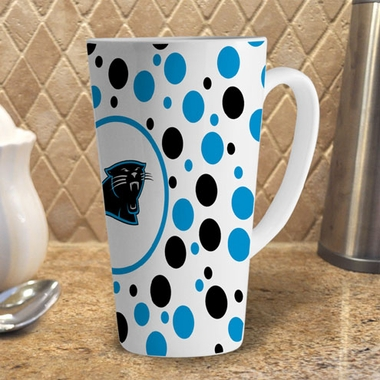 Carolina Panthers Polkadot 16 oz. Ceramic Latte Mug