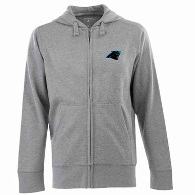 Carolina Panthers Mens Signature Full Zip Hooded Sweatshirt (Color: Gray)