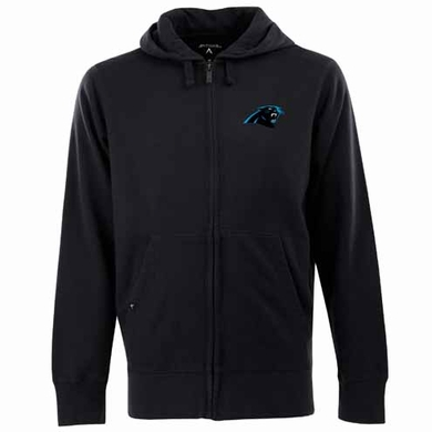 Carolina Panthers Mens Signature Full Zip Hooded Sweatshirt (Team Color: Black)
