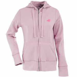 Carolina Panthers Womens Zip Front Hoody Sweatshirt (Color: Pink) - Small