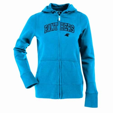 Carolina Panthers Applique Womens Zip Front Hoody Sweatshirt (Team Color: Aqua)