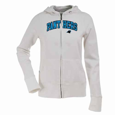 Carolina Panthers Applique Womens Zip Front Hoody Sweatshirt (Color: White)