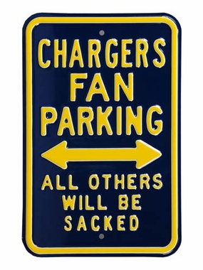 Chargers Sacked Parking Sign