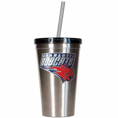 Charlotte Bobcats 16oz Stainless Steel Insulated Tumbler with Straw