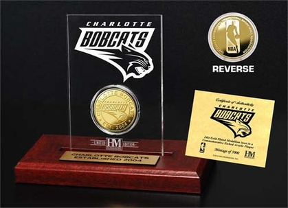 Charlotte Bobcats Charlotte Bobcats 24KT Gold Coin Etched Acrylic