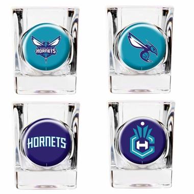 Charlotte Hornets 4 Piece Assorted Shot Glass Set