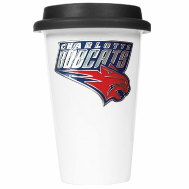 Charlotte Bobcats Ceramic Travel Cup (Black Lid)