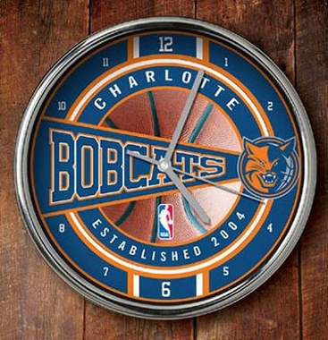 Charlotte Bobcats Chrome Clock