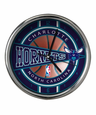 Charlotte Hornets Chrome Clock