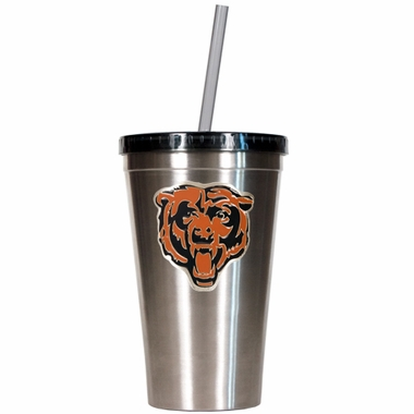 Chicago Bears 16oz Stainless Steel Insulated Tumbler with Straw