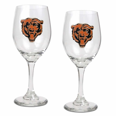 Chicago Bears 2 Piece Wine Glass Set