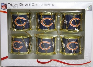 Chicago Bears 2012 Plastic Drum 6 Pack Ornament Set