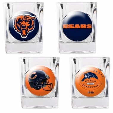 Chicago Bears 4 Piece Assorted Shot Glass Set
