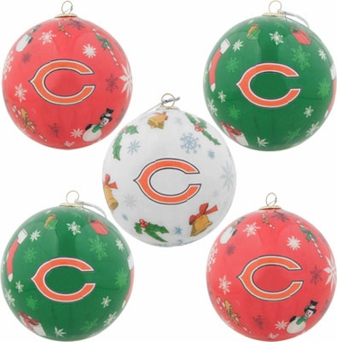 Chicago Bears 5 Pack Decoupage Ball Ornament Set