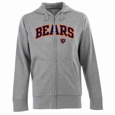 Chicago Bears Mens Applique Full Zip Hooded Sweatshirt (Color: Gray)